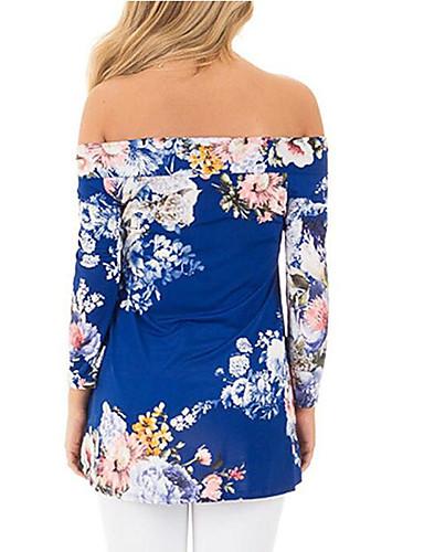 billige Dametopper-Løse skuldre T-skjorte Dame - Blomstret / Geometrisk, Trykt mønster Vintage / Elegant Tusenfryd / Solblomst Svart