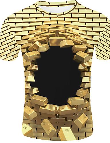 preiswerte 3D-Herrn 3D - Grundlegend EU- / US-Größe T-shirt, Rundhalsausschnitt Gold / Kurzarm