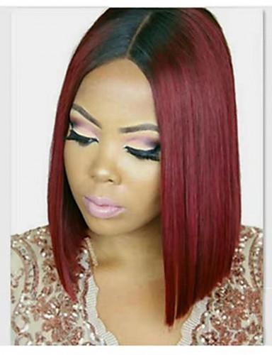 povoljno Perike s ljudskom kosom-Ljudska kosa Lace Front Perika Srednji dio stil Brazilska kosa Ravan kroj Višebojne Perika 130% 150% 180% Gustoća kose Žene Žene Kratko Perike s ljudskom kosom Clytie