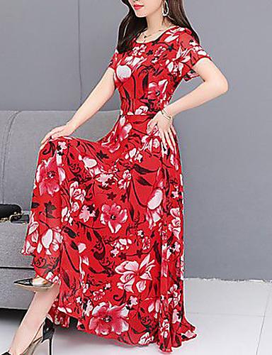 levne Maxi šaty-Dámské Swing Šaty - Květinový, Krajka Trim Midi