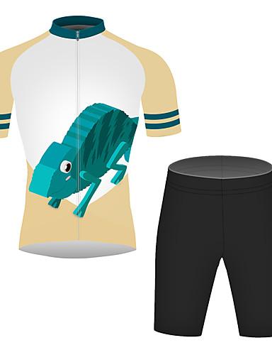 povoljno Odjeća za vožnju biciklom-21Grams 3D Crtani film Gušter Muškarci Kratkih rukava Biciklistička majica s kratkim hlačama - Crna / plava Bicikl Sportska odijela Prozračnost Ovlaživanje Quick dry Sportski 100% poliester Brdski