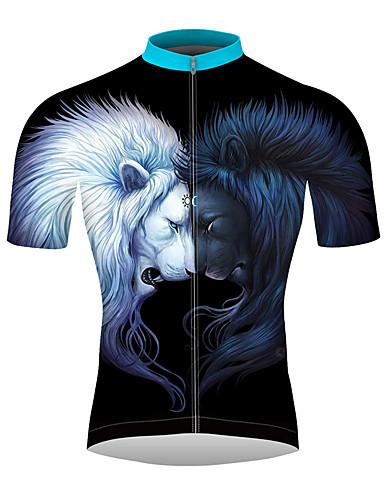 povoljno Biciklističke majice-21Grams 3D Lav Muškarci Kratkih rukava Biciklistička majica - Crno bijela  / Bicikl Biciklistička majica Majice Prozračnost Ovlaživanje Quick dry Sportski 100% poliester Brdski biciklizam biciklom na
