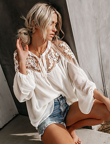 billige Dametopper-Bluse Dame - Ensfarget, Blonde Elegant Hvit