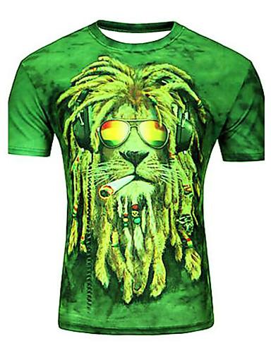 voordelige Heren T-shirts & tanktops-Heren Print Grote maten - T-shirt dier / Cartoon Ronde hals Paars