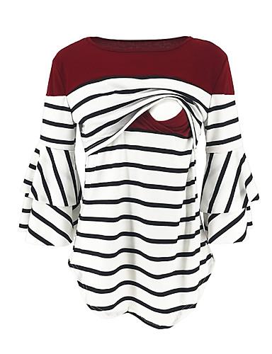 preiswerte Oberteile-Damen Gestreift / Einfarbig - Street Schick / Elegant Schwangerschaft Baumwolle T-shirt Rüsche / Patchwork Marineblau