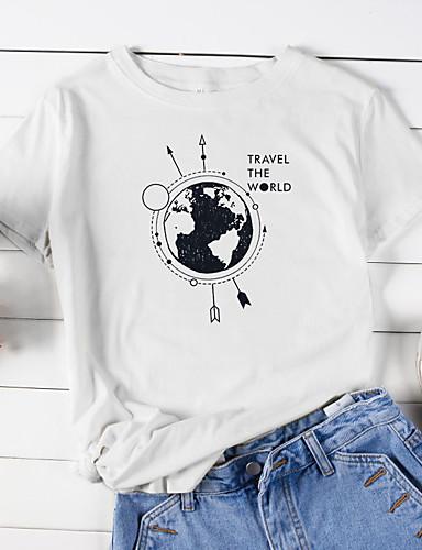 billige Dametopper-Bomull Løstsittende T-skjorte Dame - Dyr / Tegneserie / Bokstaver, Trykt mønster Grunnleggende Lilla