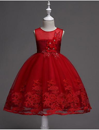 Πριγκίπισσα Μέχρι το γόνατο Φόρεμα για Κοριτσάκι Λουλουδιών - Βαμβάκι / POLY Αμάνικο Με Κόσμημα με Παγιέτες