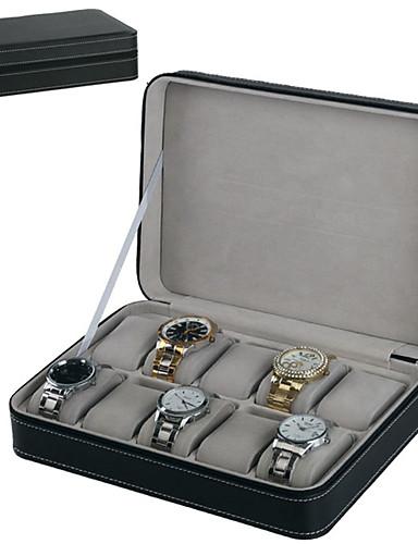 preiswerte Uhren Zubehör-10 Slots PU Uhr Speicherorganisator Reißverschluss Display Box exquisite elegante Uhrengehäuse