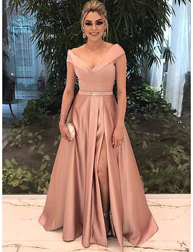 cheap Evening Dresses-A-Line Elegant Pink Prom Formal Evening Dress Off Shoulder Short Sleeve Sweep / Brush Train Satin with Split Front 2020