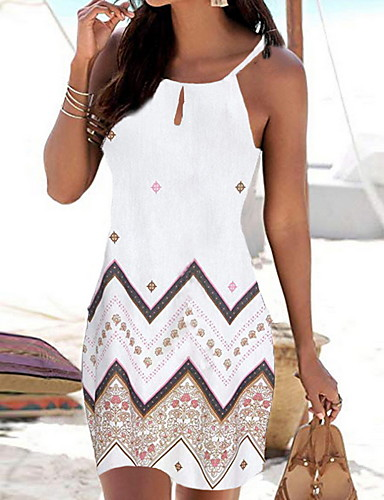 cheap White Dresses-Women's Strap Dress Short Mini Dress - Sleeveless Geometric Print Summer Boho Holiday Vacation Beach 2020 White Black Red Blue S M L XL