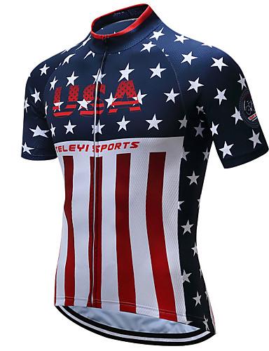 povoljno Odjeća za vožnju biciklom-21Grams American / USA Državne zastave Muškarci Kratkih rukava Biciklistička majica - Red+Blue Bicikl Majice Prozračnost Ovlaživanje Quick dry Sportski Terilen Brdski biciklizam biciklom na cesti