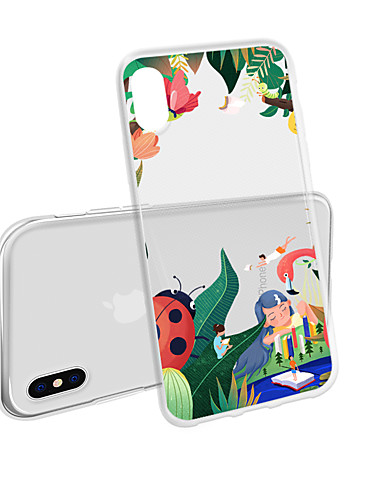 Veske til iPhone xs maks x xr 8 pluss bakveske myk håndmalte blomst gjennomsiktig mobilveske vanntett anti-fall og ripe myk tm for iphone 7 pluss 7 6 pluss 6 5 se 5s 5 8