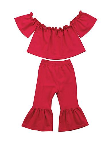 Baby Jente Aktiv / Grunnleggende Ensfarget Ermeløs Kort Tøysett Rosa