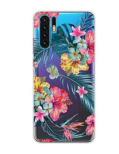 Capinha Para Huawei Huawei P20 / Huawei P20 Pro / Huawei P20 lite Antichoque / Transparente / Estampada Capa traseira Flor TPU / P10 Lite / P10