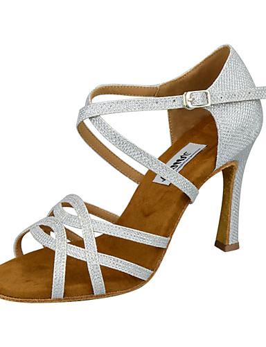 preiswerte Tanzschuhe-Damen Tanzschuhe Kunststoff Schuhe für den lateinamerikanischen Tanz Paillette / Glitzer / Pailetten Absätze Keilabsatz Maßfertigung Gold / Silber / Leistung / Praxis