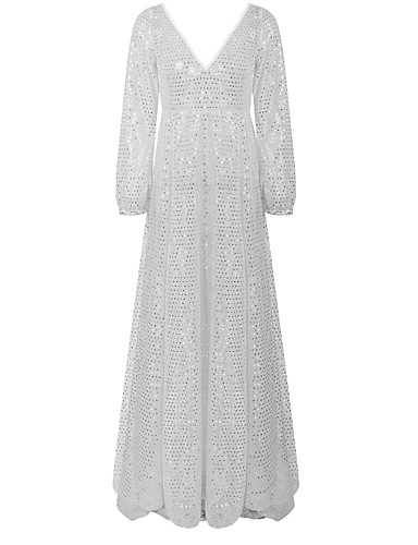 cheap Historical & Vintage Costumes-Diva Disco 1980s Dress Women's Sequins Costume Silver Vintage Cosplay Prom Long Sleeve Floor Length Ball Gown