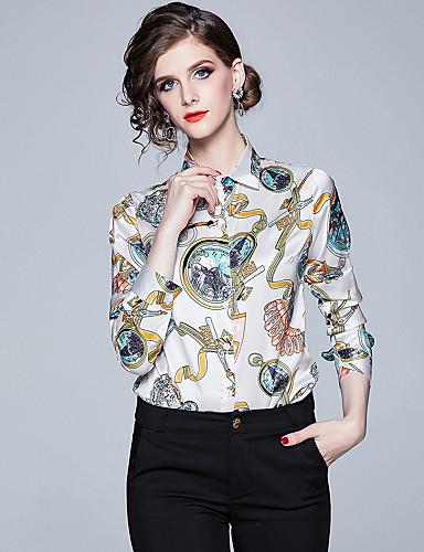 billige Dametopper-Skjortekrage Skjorte Dame - Grafisk, Trykt mønster Elegant Hvit