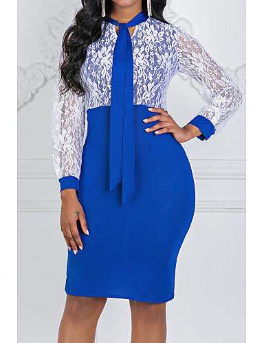 preiswerte Versandkostenfrei-Damen Übergrössen Grundlegend Sexy Hülle Kleid - Spitze Chiffon Raffhalter, Solide Knielang V-Ausschnitt