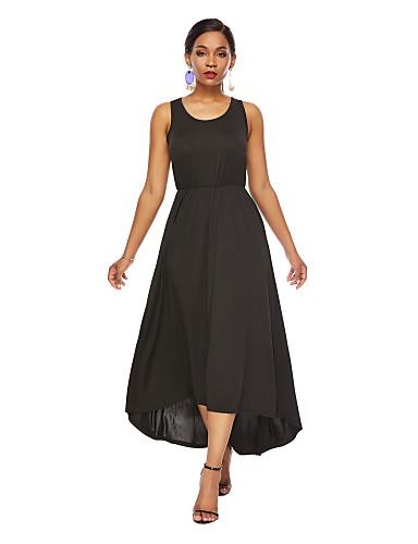 voordelige Maxi-jurken-Dames Elegant Schede Wijd uitlopend Jurk - Effen Asymmetrisch