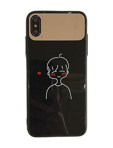 Capinha Para Apple iPhone XS / iPhone XS Max / iPhone 8 Plus Anti-poeira / Espelho / Estampada Capa traseira Mulher Sensual / Desenho Animado Vidro Temperado / PC