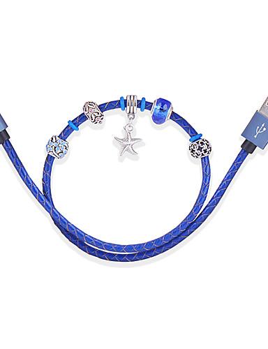 d8 mfi lynledning mikro usb / lynledning 0.45m (1.5ft) skinnflettet flettet lading kabel datakabel hurtigladningskabel for iphone / ipad / ipod