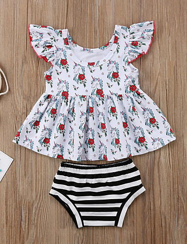 Μωρό Κοριτσίστικα Ενεργό / Βασικό Φλοράλ Αμάνικο Κοντό Σετ Ρούχων Λευκό