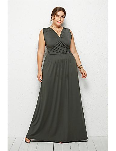 voordelige Grote maten jurken-Dames Elegant Wijd uitlopend Jurk - Effen, Blote rug Maxi