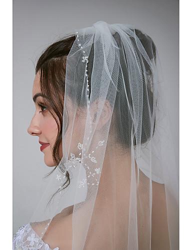 Μίας Βαθμίδας Sweet Style / Κλασσικό στυλ Πέπλα Γάμου Πέπλα ως τον αγκώνα με Χάντρες Τούλι
