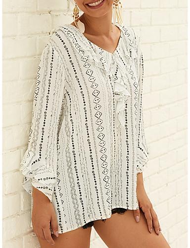 billige Dametopper-Løstsittende V-hals Bluse Dame - Stripet, Trykt mønster Grunnleggende / Elegant Svart og hvit Hvit