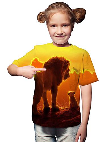 Infantil Bébé Para Meninas Activo Básico Leão Geométrica Estampado 3D Estampado Manga Curta Camiseta Amarelo / Animal