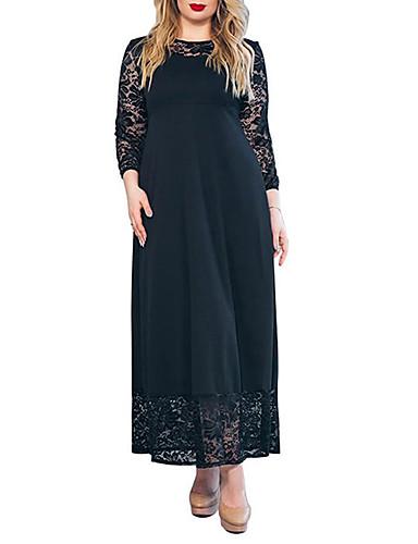 voordelige Grote maten jurken-Dames Verfijnd Elegant Schede Jurk - Effen, Kant Patchwork Maxi