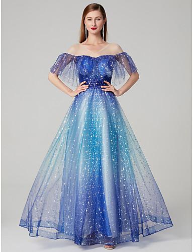 גזרת A צווארון V עד הריצפה תחרה נוצץ וזוהר נשף רקודים / ערב רישמי שמלה עם על ידי TS Couture®