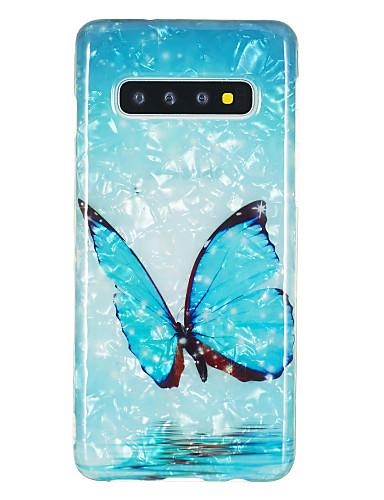 Capinha Para Samsung Galaxy Galaxy S10 / Galaxy S10 Plus / Galaxy S10 E IMD / Estampada Capa traseira Borboleta / Mármore TPU