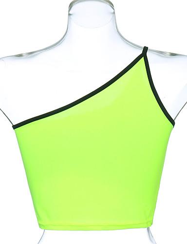 billige Dametopper-Skinny Enskuldret Singleter Dame - Ensfarget, Lapper Grunnleggende Grønn