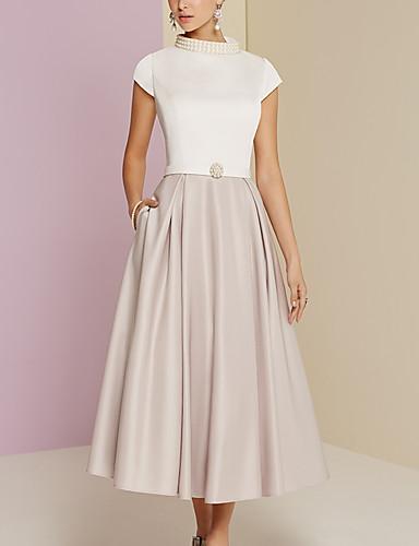 رخيصةأون فساتين مناسبات-A-الخط فستان أم العروس عتيق قياس إضافي رقبة عالية طول الساق ساتان كم قصير مع تفاصيل لؤلؤ 2020