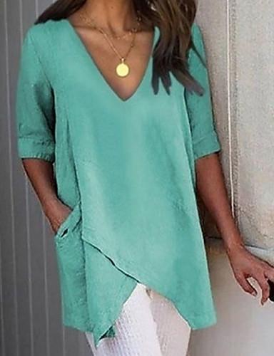 billige T-skjorter til damer-Løstsittende V-hals Store størrelser T-skjorte Dame - Ensfarget, Lapper Grunnleggende Grå