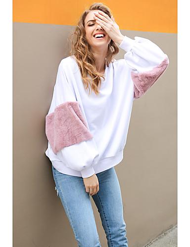 billige Dametopper-Dame Grunnleggende / søt stil Genser Fargeblokk