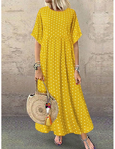 cheap Sale-Women's Plus Size Maxi A Line Dress - Short Sleeve Polka Dot Print Summer Casual Holiday Vacation Loose High Waist 2020 Wine Yellow Green Navy Blue L XL XXL XXXL XXXXL XXXXXL