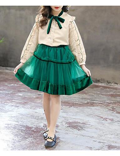 preiswerte Sommerurlaub Hot Sale-Kinder Mädchen Grundlegend Street Schick Solide Langarm Standard Standard Kleidungs Set Beige