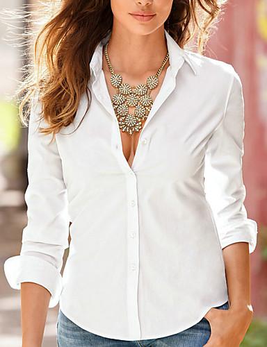 billige Skjorter til damer-Skjortekrage Skjorte Dame - Ensfarget, Dusk / Lapper Grunnleggende / Gatemote Ut på byen Rosa