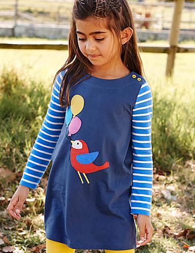 Barn Baby Jente Grunnleggende søt stil Stripet Dyr Trykt mønster Langermet Ovenfor knéet Kjole Blå / Bomull