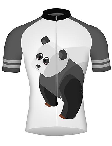 povoljno Odjeća za vožnju biciklom-21Grams 3D Crtani film Panda Muškarci Kratkih rukava Biciklistička majica - Crno bijela  / Bicikl Biciklistička majica Majice Prozračnost Ovlaživanje Quick dry Sportski 100% poliester Brdski