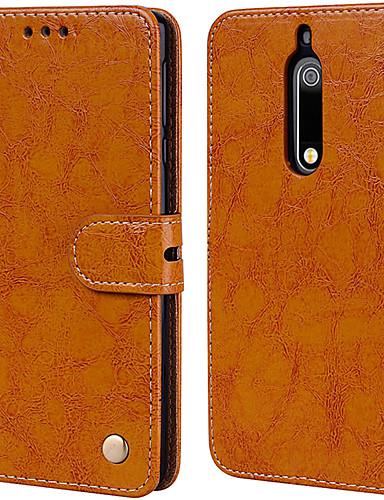 Etui Til Nokia Nokia 5 Kortholder / Flipp Heldekkende etui Ensfarget Hard PU Leather