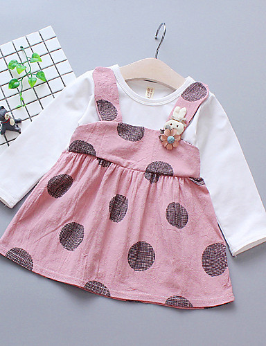 Μωρό Κοριτσίστικα Βασικό Πουά Patchwork Μακρυμάνικο Πάνω από το Γόνατο Φόρεμα Ανθισμένο Ροζ