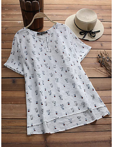 billige Dametopper-Bomull Løstsittende Store størrelser Skjorte Dame - Dyr / Tegneserie, Trykt mønster Vintage / Chinoiserie Katt Blå