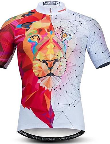 povoljno Odjeća za vožnju biciklom-21Grams 3D Životinja Tigar Muškarci Kratkih rukava Biciklistička majica - Red / White Bicikl Biciklistička majica Majice Prozračnost Ovlaživanje Quick dry Sportski Poliester Elastan Brdski biciklizam