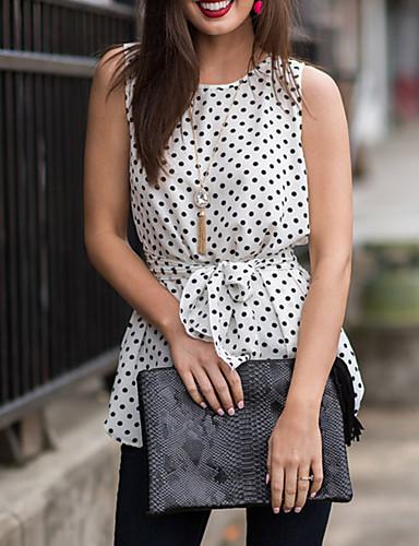 baratos Tops Femininos-Mulheres Blusa - Para Noite Básico / Elegante Poá Delgado Branco