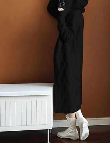 billige Dametopper-Dame Stripet / Ruter / Ensfarget Langermet Løstsittende Cardigan Genserjumper, V-hals Høst / Vinter Bomull Svart / Kamel / Grå En Størrelse
