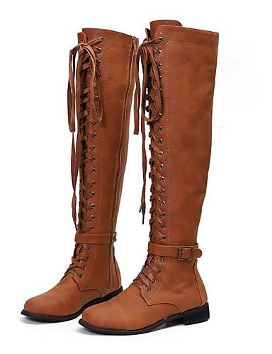 billige Shoes & Bags Must-have-Dame Støvler Over-The-Knee Boots Flat hæl Rund Tå Lerret Lårhøye støvler Vår & Vinter Svart / Brun / kaffe
