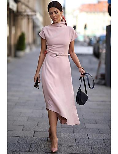 levne Pracovní šaty-Dámské Základní Volné Pouzdro Šaty - Jednobarevné Asymetrické Tričkový Dusty Rose